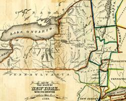 1788 Map of New York State showing native lands and ten counties, printed by Hoffman & Knickerbocker, Albany, N.Y.