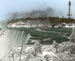View of the Niagara River at the American Falls in the winter, c. 1900