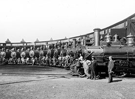Locomotives in Roundhouse, January 1 1908