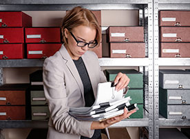 Image. Woman browsing archives