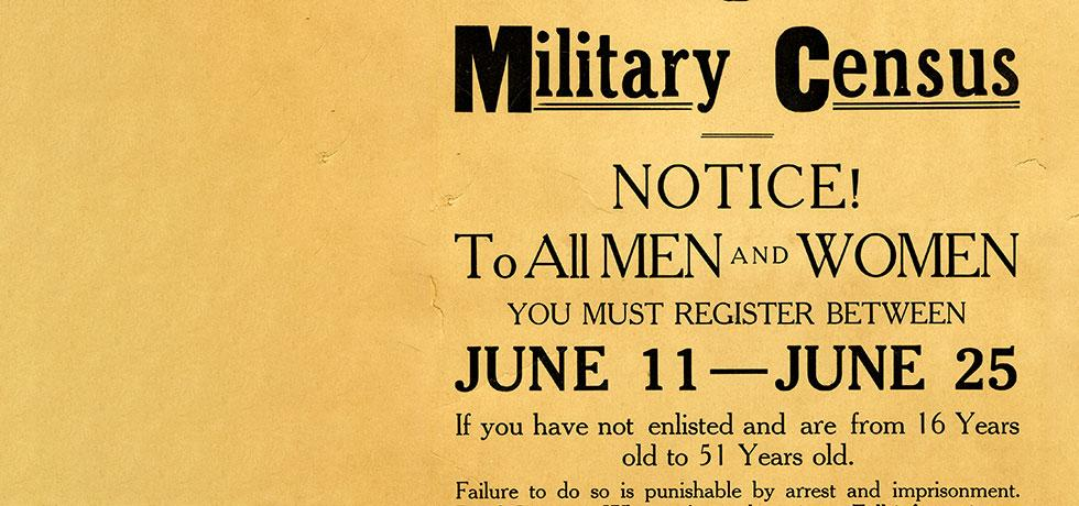 Image. Broadside for Military Census Registration in Rensselaer County