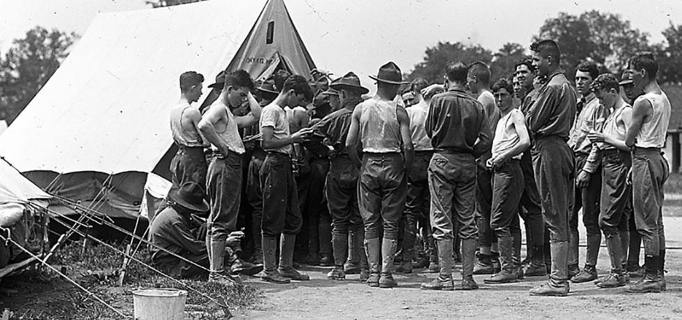 Image. Peekskill Training Camp boys lining up for mail