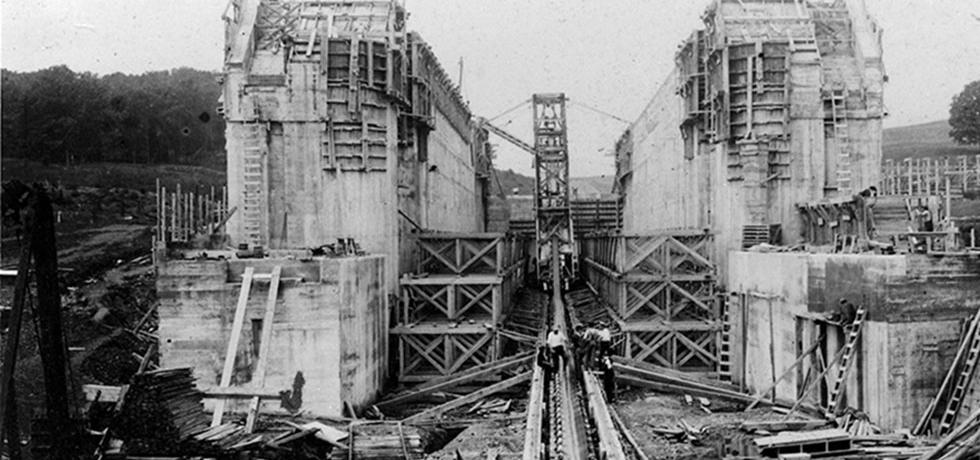 Construction of Erie Canal Lock 5, Waterford, N.Y. August 20, 1908.