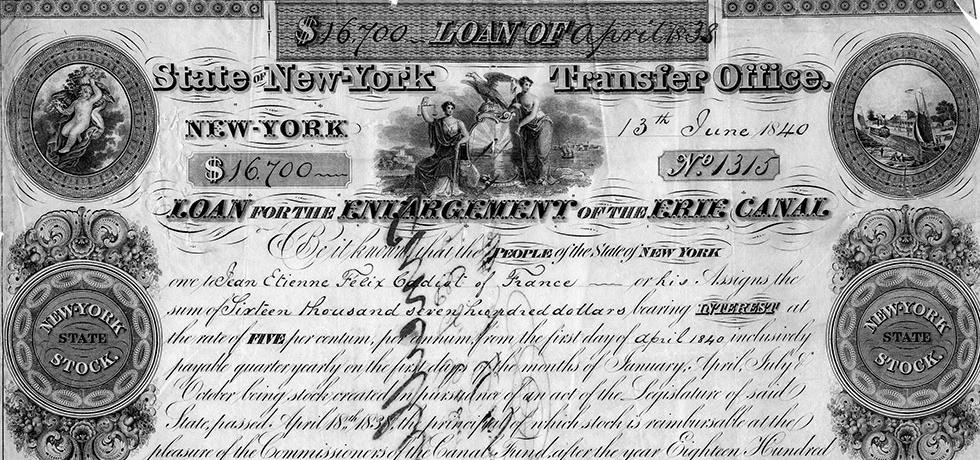 1838 Stock Certificate issued as part of a loan funding the Erie Canal