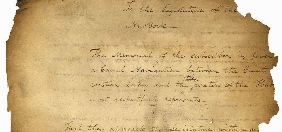 1816 petition to the state legislature to build the Erie Canal