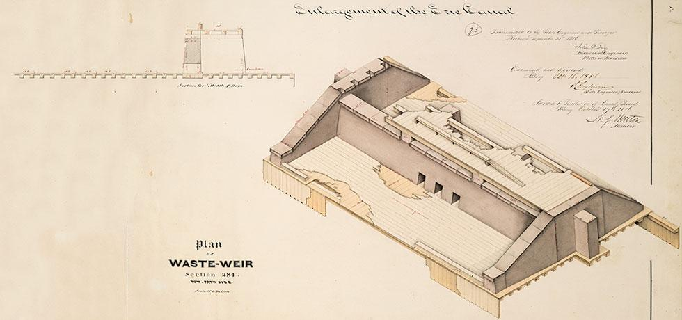 Plan for a waste weir at section 284 of the Erie Canal