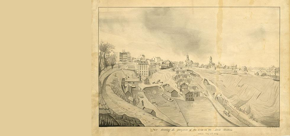 Erie Canal drawing showing Lockport, 1839