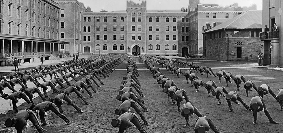 Image. Setting up exercises West Point cadets