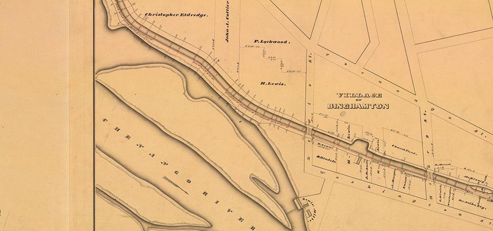 Image. Chenango Canal Survey, showing Chenango River, Lewis Mills, Lock No. 112 and the Village of Binghamton