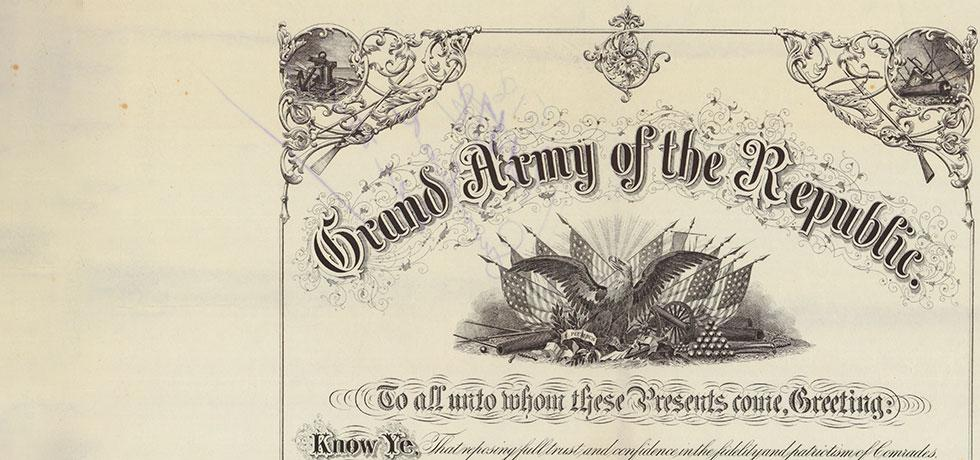 Image. Cropped Grand Army of the Republic Post Charter, 1911
