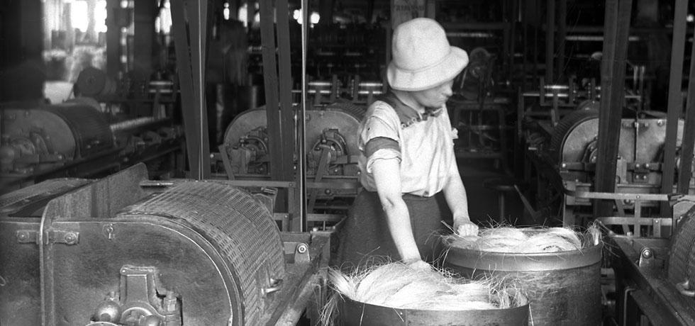 Woman pulling hampers of hemp at International Harvester Company, 1912