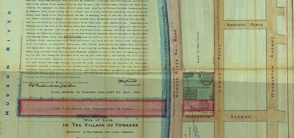 Image. Survey of lands under water for Yonkers Gas-Light Company, 1861
