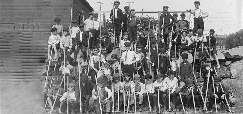 Image. Boys Ready to Work in the School Gardens at Fairview Garden School, Yonkers, 1904