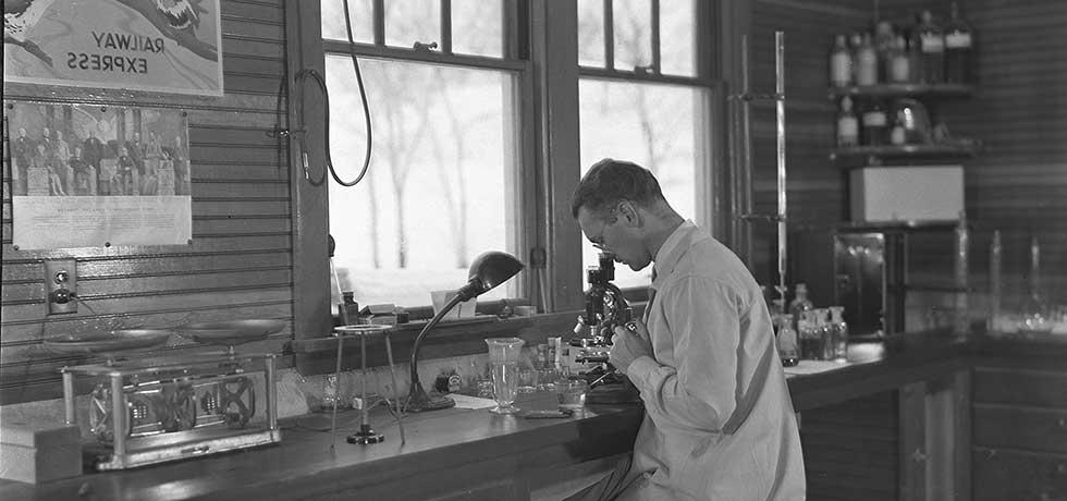 Scientist at the Rome State Fish Hatchery, c. 1930