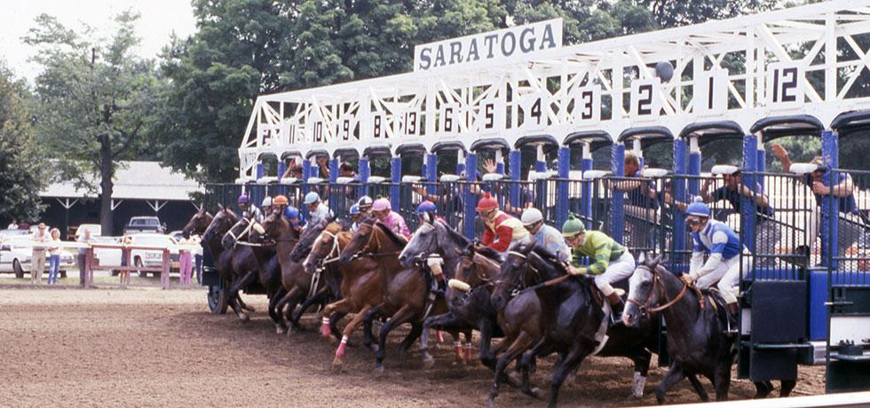 Image. Starting line at the Saratoga racecourse in Saratoga Springs, 1980's.