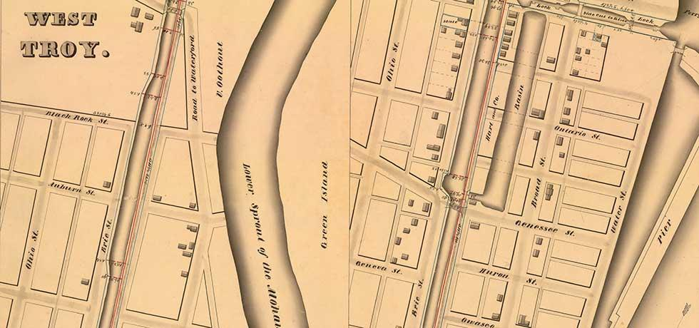 Erie Canal Survey, Watervliet showing West Troy and Green Island
