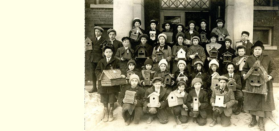 Image. Bird Houses made as class projects. School No. 4, Saratoga Springs, ca. 1910.