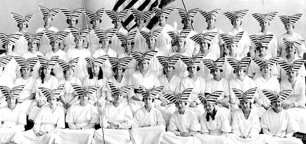 New York. Troy. Group portrait of young women in patriotic costume. ca. 1918.