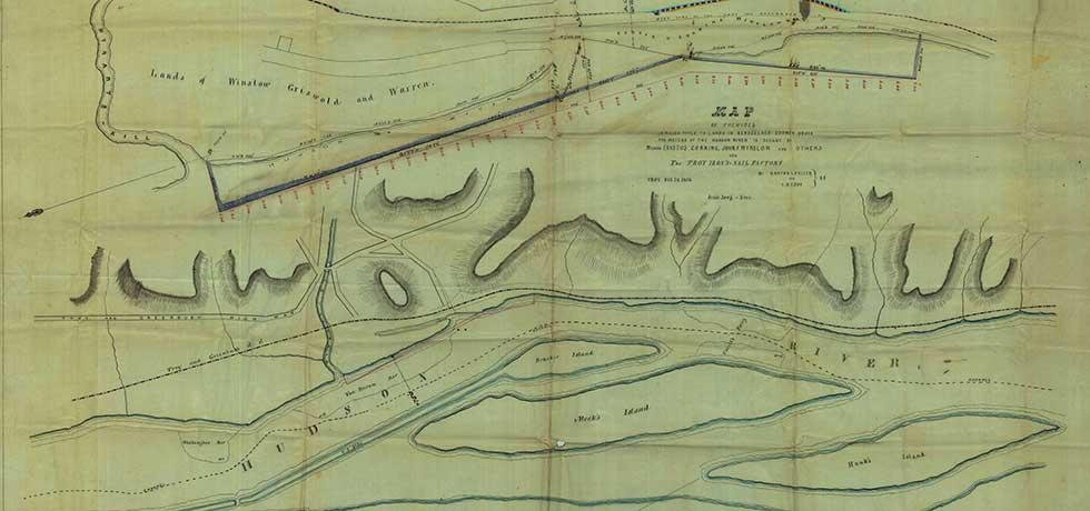 Survey map of lands under water for John F. Winslow, J.F. Winslow & Joseph M. Warren (Corning, Troy Iron & Nail Factory, Griswold)