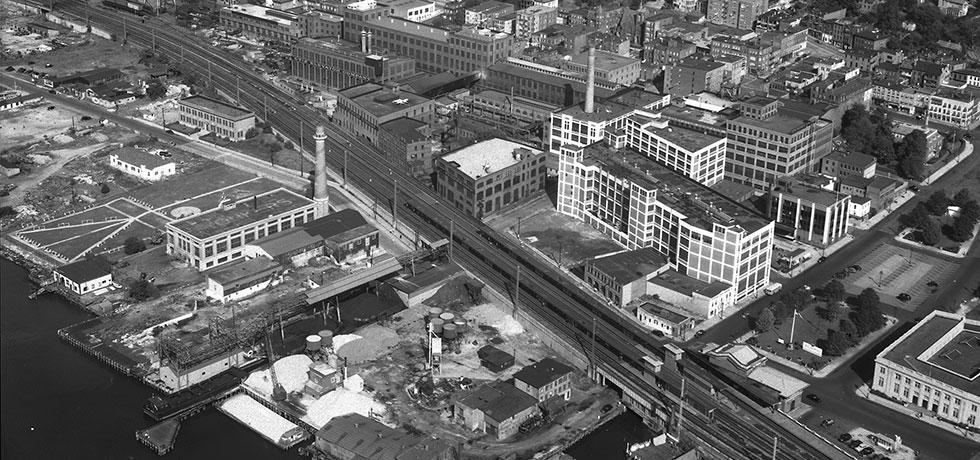 Image. Aerial view of the Otis Elevator Company, 1946