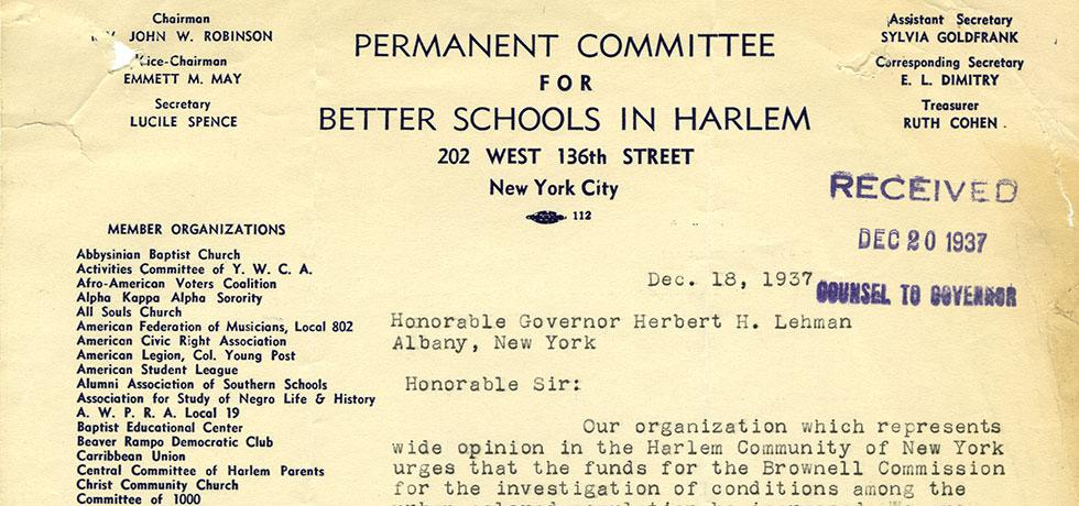 Image. Cropped letter, Letter from Permanent Committee for Better Schools in Harlem to Gov. Lehman