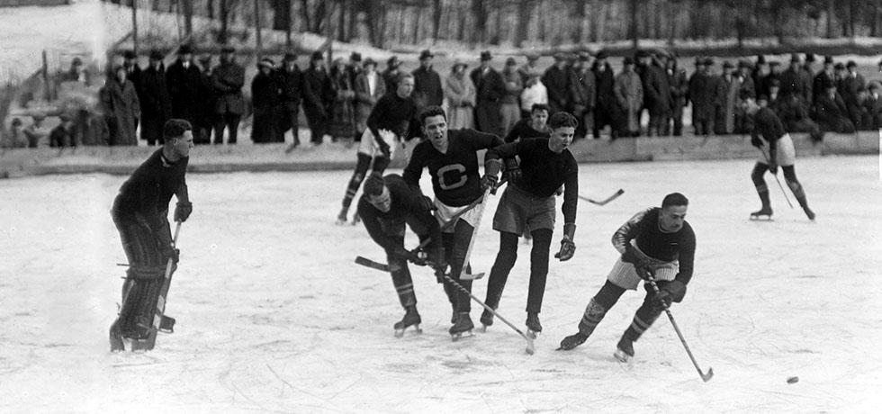 Image. Amherst-Cornell Hockey Game on Beebe Lake, Ithaca, January 14, 1922