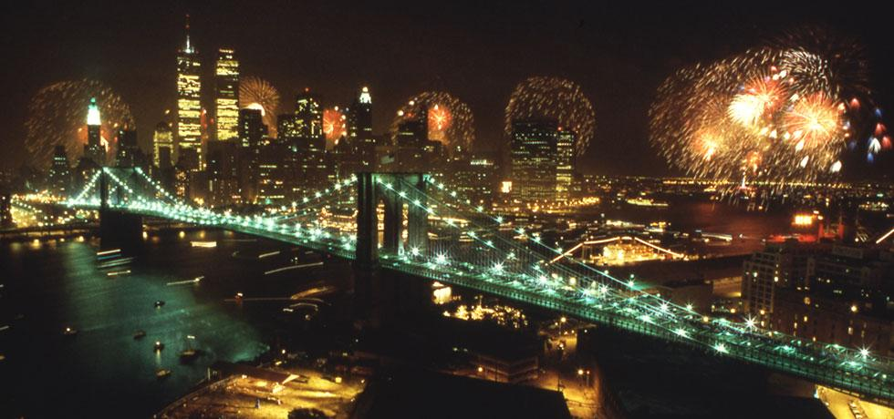 Image. Fireworks at night over the Brooklyn Bridge, 1980's.