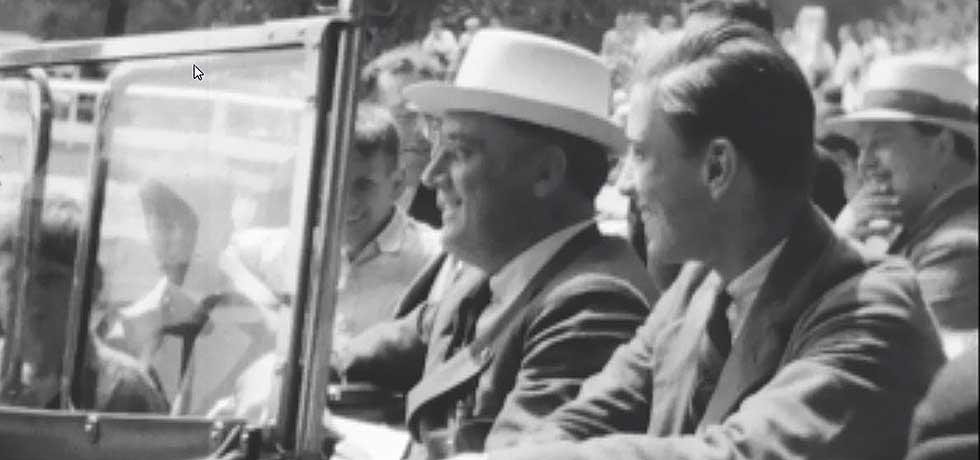 Screenshot of State Police Motion Picture film showing Franklin Roosevelt at the Troy Horse Show, 1930