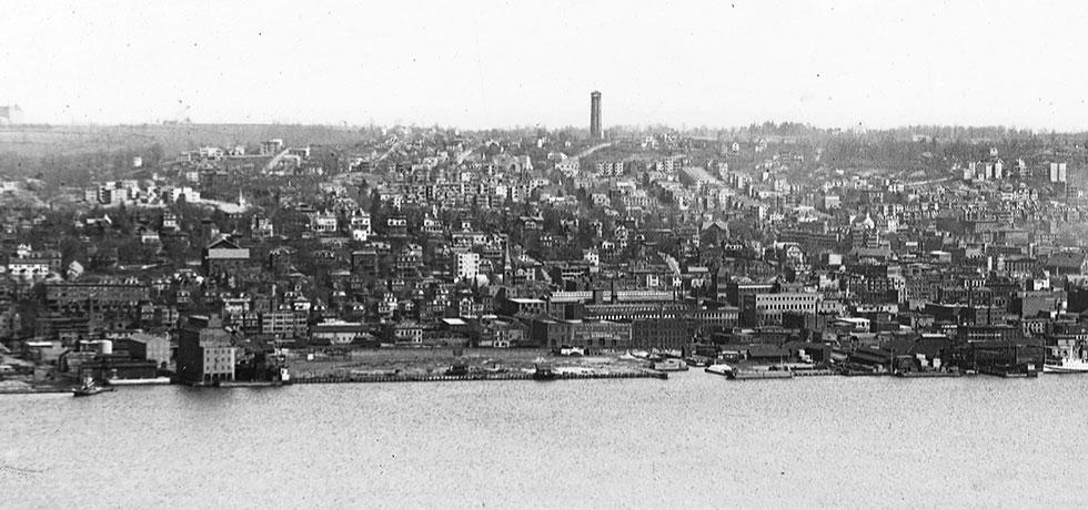 Image. Panoramic view of Yonkers from the Hudson River, circa 1900