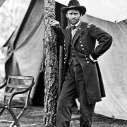 Civil War. General Ulysses S. Grant standing by tree