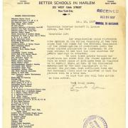 Letter from Permanent Committee for Better Schools in Harlem to Gov. Lehman