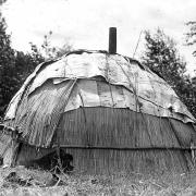 Native Americans. Chippewa Indian Hut Made from Woven Reeds and Birch Bark