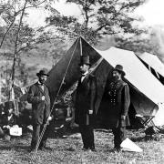 Abraham Lincoln. Lincoln With Major Allen Pinkerton and General McClernand