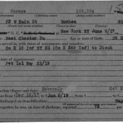 World War I military service abstract for Horace Pippin, Army service number 03722930 Service Record