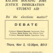 Flyer - Debate/ Racism, Housing, Jobs, Justice Immigration, Student Aid