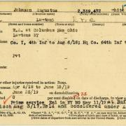World War I military service abstract for Augustus Johnson, Army service number 2339472