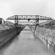 Barge Canal. Bridge Excavator and Rock Cut