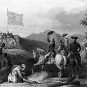 French and Indian War. Washington Raising the British Flag at Fort Duquesne, 1758