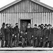 Civil War. General Ulysses S. Grant (1822-85) and officers