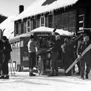 Gore Mountain - Skiers Arriving at Inn