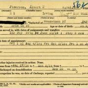 World War I military service abstract for Albert Jimerson, Army service number 2961492