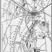 Civil War. Map of Gettysburg Attacks on First and Second Day