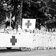 Nurses from the Normal Auxiliary marching in a parade