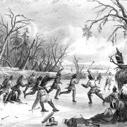 Native Americans. Indians Playing Ball on the Ice