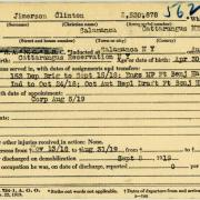 World War I military service abstract for Clinton Jimerson, Army service number 2530878