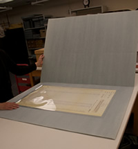 Polyester enclosures for fragile documents, NY State Archives, Albany, NY