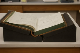Book supports prevent damage to bindings of bound volumes. NY State Archives, Albany, NY.